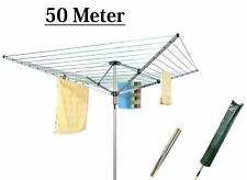 4 Arm 50m Rotary Airer Clothes Dryer Outdoor Laundry Washing Line Ground Socket