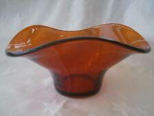 VINTAGE ART DECO SOWERBY AMBER/BROWN pressed GLASS TRICORN flower BOWL vgc