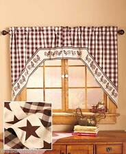 Swag-Style Country Primitive Gingham Western Lone Star Kitchen Window Curtain