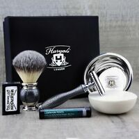 COMPLETE CLASSIC SHAVING SET Synthetic Brush & DE Safety Razor MENS GROOMING KIT