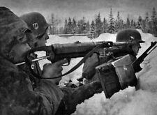 WWII B&W Photo German Troops MP40 Russia  WW2 World War Two Eastern Front /2077