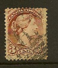 Canada: 1870 3C indian-red PERF 12 sg79 utilisé