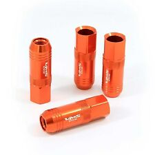 VMS 16 ORANGE 60MM ALUMINUM EXTENDED TUNER LUG NUTS LUGS FOR WHEELS RIMS 12X1.25