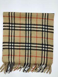 Burberry genuine Vintage 100% Lambswool Nova check Camel winter Scarf Scarves