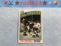 1976 Topps #62 BERT MARSHALL   Sharp Centered Clean Vintage Islanders NMMT/Mint