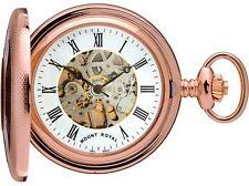Skeleton Pocket Watch Rose Gold Plated Half Hunter - 17 Jewel Mechanical - Box