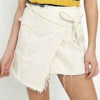 Urban Outfitters BDG Classic Denim Wrap Frayed Mini Skirt Beige size Small