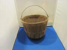 "Vintage Small Bushel Wooden Basket With Metal Handle 8 1/2"" across 7"" tall"