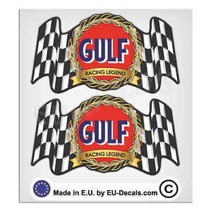 """2X 92mm-3.63"""" Vintage Gulf oil Racing Legend Laminated Decal Sticker classic vw"""