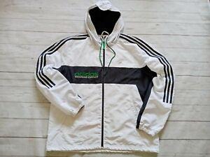 Adidas Training Circuit Men's Hooded Full Zip Reflective Running Jacket White L