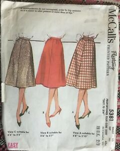 VTG 60s McCalls  Easy Sew Proportioned Fore Gore Skirt Waist 30 3 Height Fits