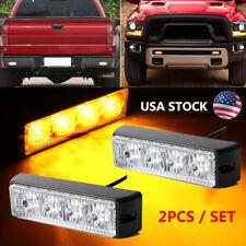 Pair 4 LED Strobe Light Bar AMBER Emergency Warning Flash Beacon Car Grille Lamp
