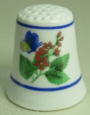 Vintage Collectible Souvenir Thimble Butterfly & Red Flowers Porcelain