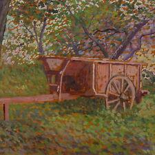 Dipinto Olio  Formigli Ennio cm 25 x 15 Agricoltura Rimorchio Trattore Livorno