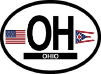 OHIO STATE OVAL REFELCTIVE LAMINATED CAR STICKER NEW
