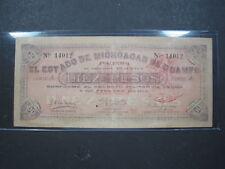 MEXICO MICHOACAN 10 PESO 1915 S883 MEXICAN REVOLUTION WAR SCARCE 80# PAPER MONEY