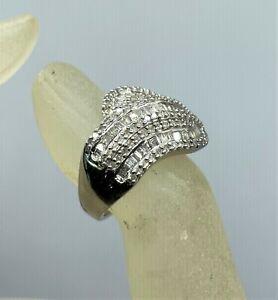 No Reserve 3/4 Carat Genuine White Diamond Cocktail Ring