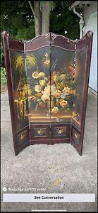 vintage hand painted room divider