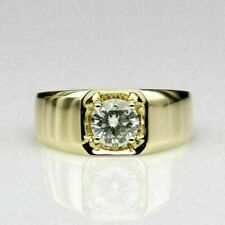 1.60 Ct Round Diamond Pinky Wedding Men's Band 14K Yellow Gold Finish On Silver