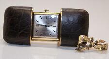 NICE 1950's Paul Peugeot Alligator Skin Convertible Watch on 14K Yellow Gold Pin