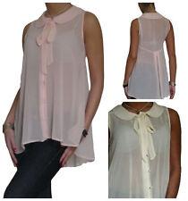Chiffon Patternless Tie Neck Tops & Shirts for Women