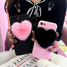 Fashion 3D Furry Love Hearts Cute Phone Case For Apple iphone X 6 6S 7 8 plus 5