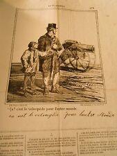 Litho Caricature 1869 - C'est le Vélocipède pour l'autre Monde Le Canon