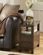 "Ashley Furniture T477-7 Chair Side End Table Marion Dark Brown 14""W x 24""D x 24"""