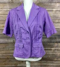 Coldwater Creek NWT Womens Short Sleeve Button Down Blazer 14 Petites Purple 15
