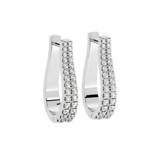 0.70 CT Fishtail Set Round Brilliant Cut Diamonds Hoop Earrings In 9K WG