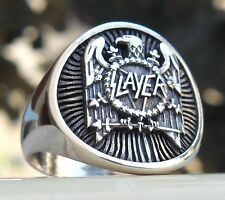 Solid Sterling Silver 925 Heavy 3D SLAYER Band Eagle Ring