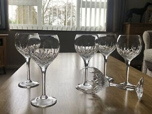"Stuart Crystal Set 6 Signed Manhattan 7 1/4"" Wine Glass Never Used Excellent"