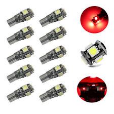 10Pcs Red T10 194 W5W 5050 5-SMD Canbus Error Free  Car LED License Light 12V