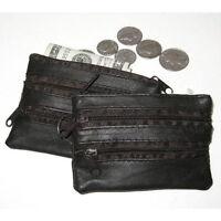 Black Leather Men's Coin Purse Key Ring Change Keychain Holder Slim Wallet