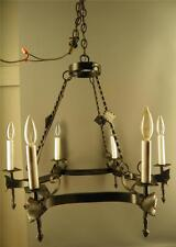 ANTIQUE GOTHIC BLACK IRON ARTS & CRAFTS 6 LIGHT CHANDELIER LIGHT FIXTURE