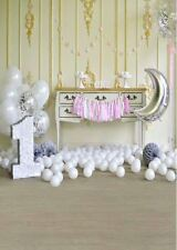 BABY FIRST BIRTHDAY PINK WHITE GOLD VINYL BACKDROP PHOTO PROP 5X7FT 150x220CM