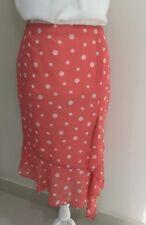 Covers Women's Vintage Chiffon Asymmetrical Pencil skirt Coral Polka Dot size 8