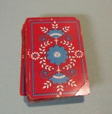 Vintage 1939 Flowers on Red Background Russell Playing Card Deck Art Deco Design
