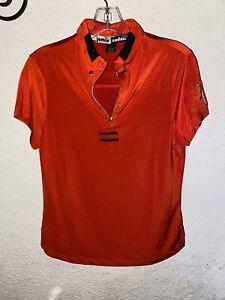 JAIME SADOCK Red Orange 1/4 Zip Short Sleeve Pullover Golf Shirt S