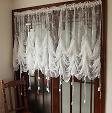 Decorative Curtains Off-White Lace Embroidered Sheer Balloon Polyester Shading