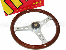 MOMO Steering Wheel - INDY (350mm/33mm Dish/Mahogany Wood/Silver Spoke)