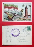 AK HELGOLAND 1913 Leuchtturm und Inselansicht mit Fahne  ( 35618
