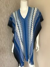 Missoni Checkered Block Zigzag Tassel Poncho / Scarf Made in Italy