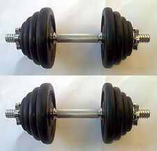 32KG Dumbbell Set, up to 2 x 16kg, Spinlock Bars, Iron Weights / Discs / Plates