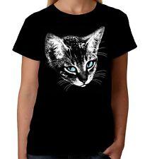 Velocitee Ladies Cat Face T-Shirt Feline Cat Lover Kitty W17312