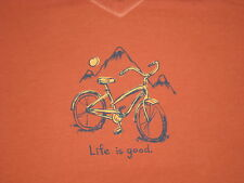 LIFE IS GOOD WOMEN'S S/S  MOUNTAIN BIKE CREW T - SHIRT SIZE L