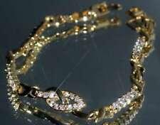 33x Tiny Created Diamond 18K Yellow Gold GF Bracelet 18.5cm