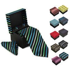 Berlioni Men's Silk Neck Tie Accessory Box Set With Cufflinks & Pocket Square
