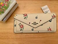 Coach Soft Wallet Wildflower Print Pebble Leather Floral Pewter Chalk Multi NEW