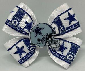 "Girls Hair Bow 4"" Wide Dallas Cowboys Football Barrette, Clip or Ponytail"